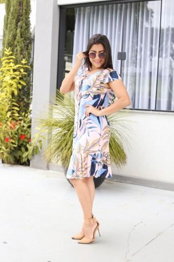Vestido Viscose Estampado em Áquila Tauheny Store | Moda Evangélica