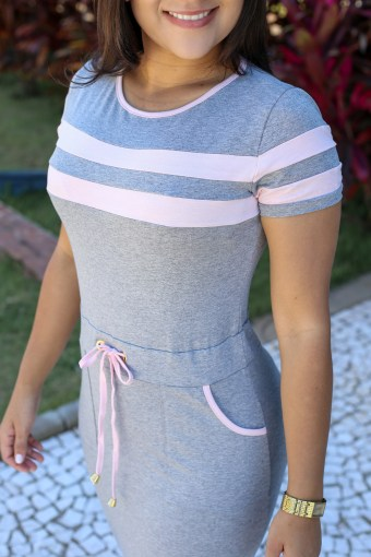 Vestido Malha Cinza Rosa em Áquila Tauheny Store | Moda Evangélica