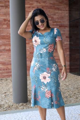 Vestido Sereia Floral em Áquila Tauheny Store | Moda Evangélica