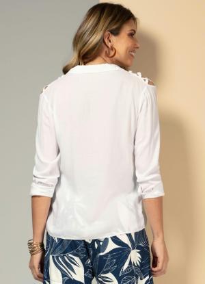 Camisa com Ombros Vazados Branca