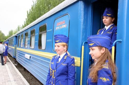 سكة حديد مدارة من قبل الأطفال فى مدينة خاركوف