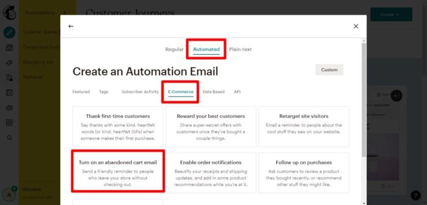 اختر E-commerce ثم اختر Turn on Abandoned Cart Email