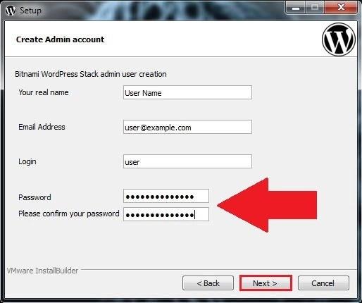 8 اسم المستخدم وكلمة المرور برنامج BITNAMI WORDPRESS STACK