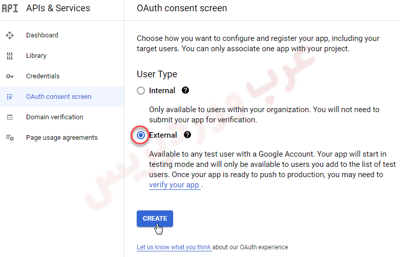 oAuth consent screen - external