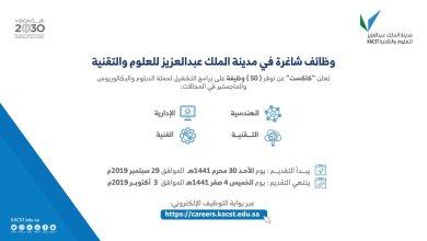 Photo of مدينة الملك عبدالعزيز للعلوم والتقنية تعلن عن وظائف شاغرة للجنسين