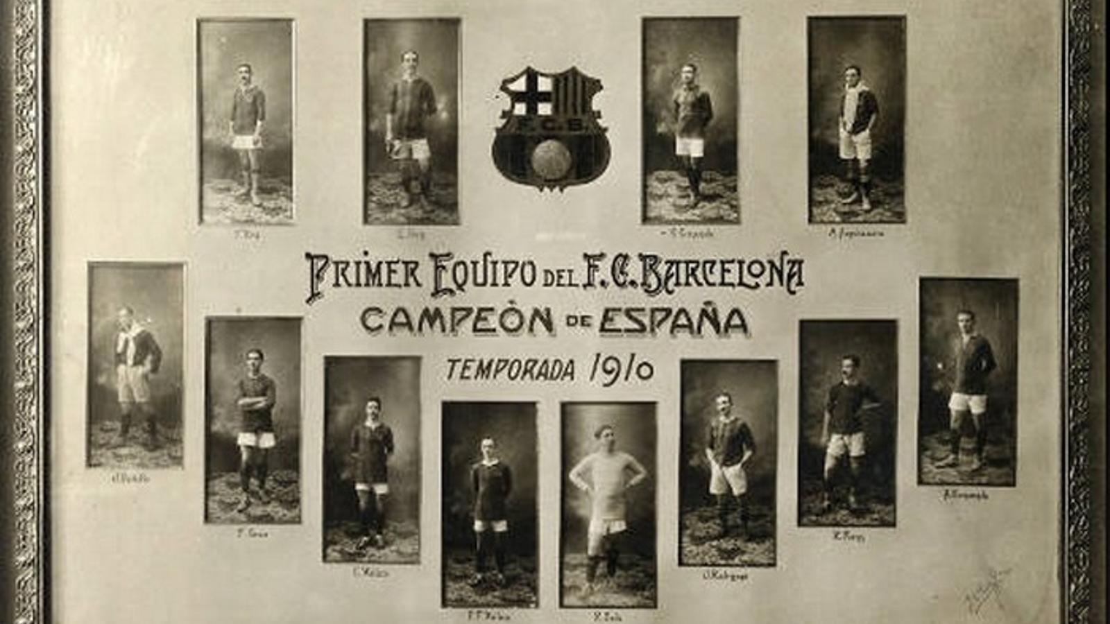 L'equip del Barça que va guanyar el campioant d'Espanya el 1910 / ARXIU PERIS DE VARGAS