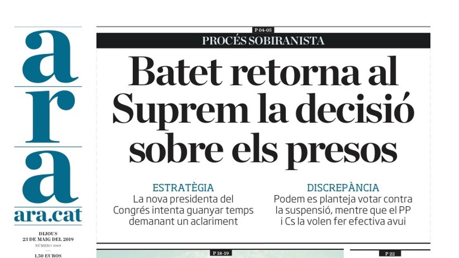 """""""Batet retorna al Suprem la decisió sobre els presos"""", portada de l'ARA"""