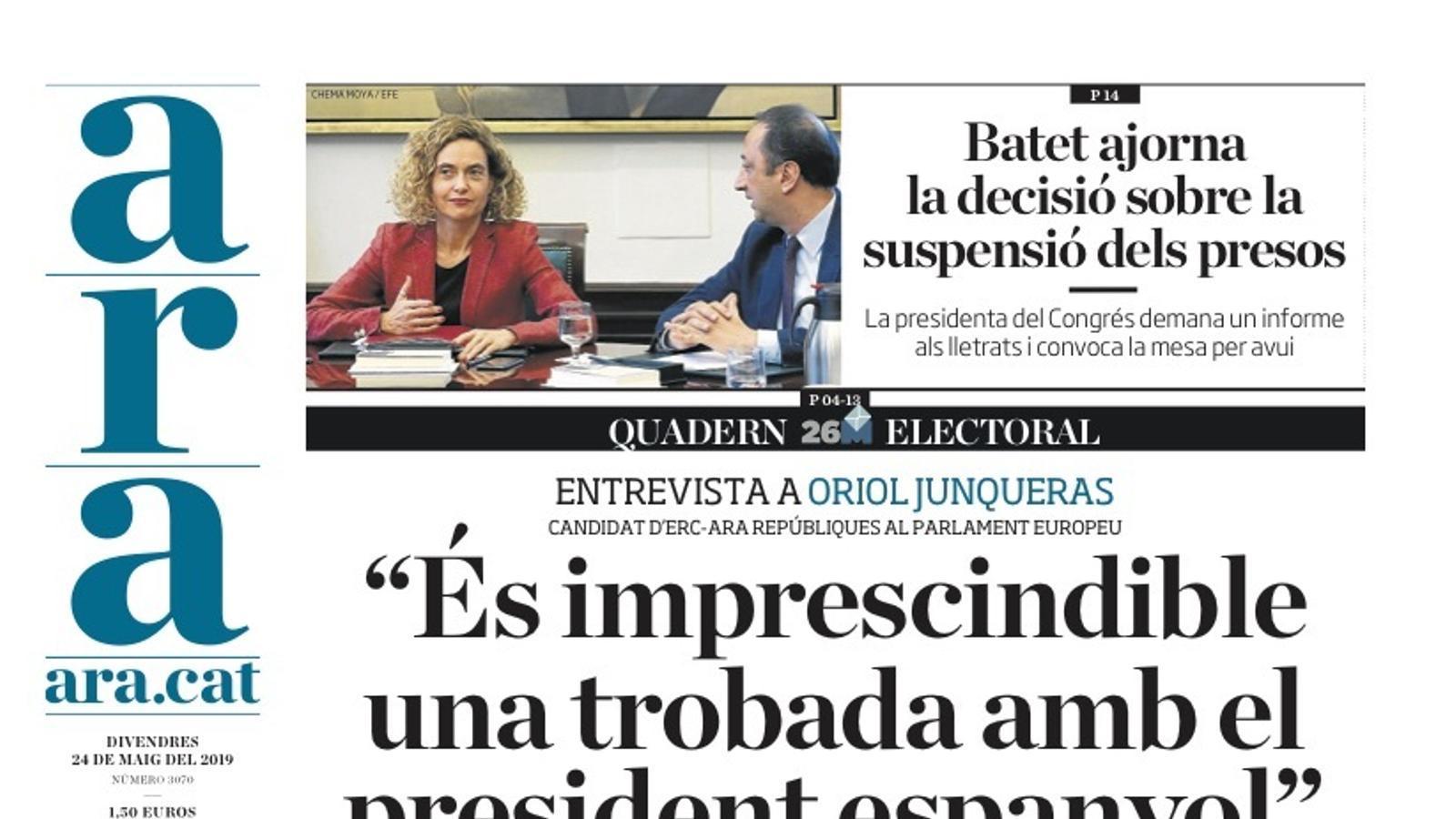 """""""Batet menysté el Suprem per no suspendre els presos"""", portada d""""El Mundo'"""