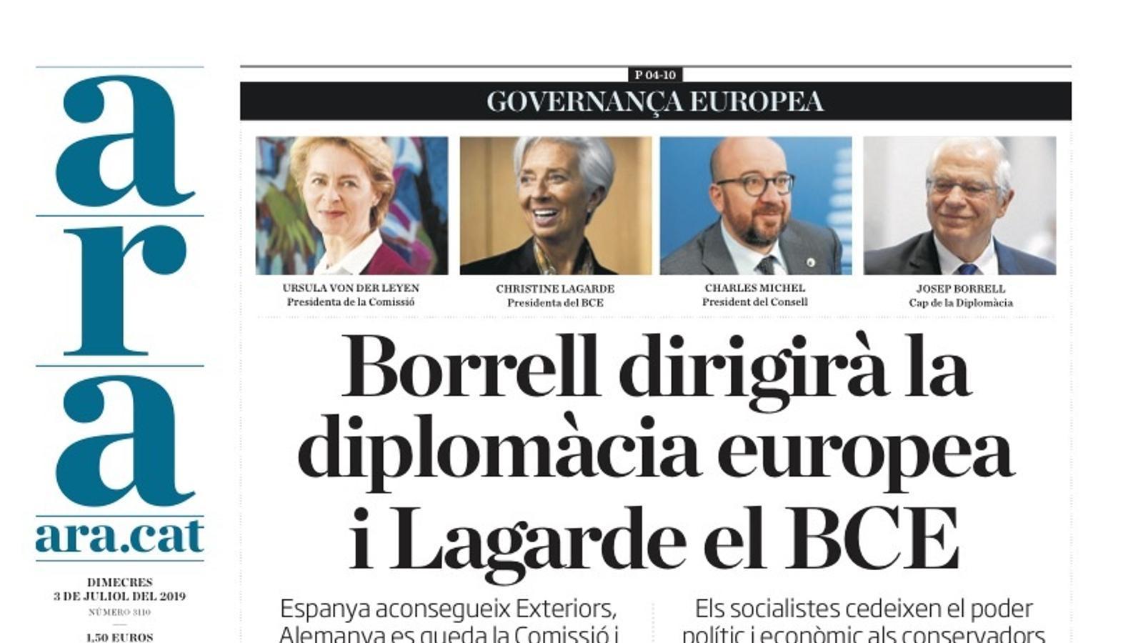 """""""Borrell dirigirà la diplomàcia europea i Lagarde el BCE"""", portada de l'ARA"""