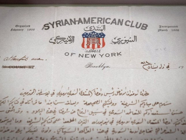 A letter from the Syrian-American Club of New York, part of an exhibition on Little Syria shown at the Ellis Island National Museum of Immigration in 2016-17. AFP