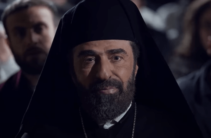 "Image: Archbishop Hilarion Capucci played during Ramadan by Syrian actor Youssef Badawi in the new soap series ""Hares Al-Quds,"" Guardian of Jerusalem."