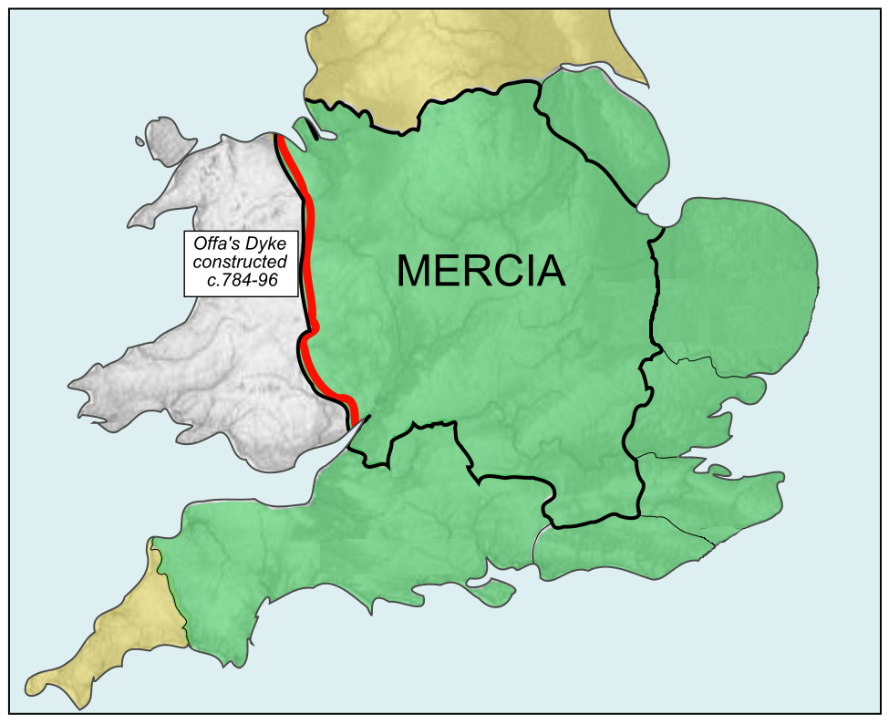 The borders of Mercia within England, along with the surrounding Saxon kingdoms Offa brought under his influence