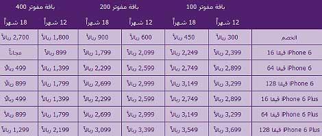 أسعار الآيفون 6 و الآيفون 6 بلس لدى شركة الاتصالات السعودية STC