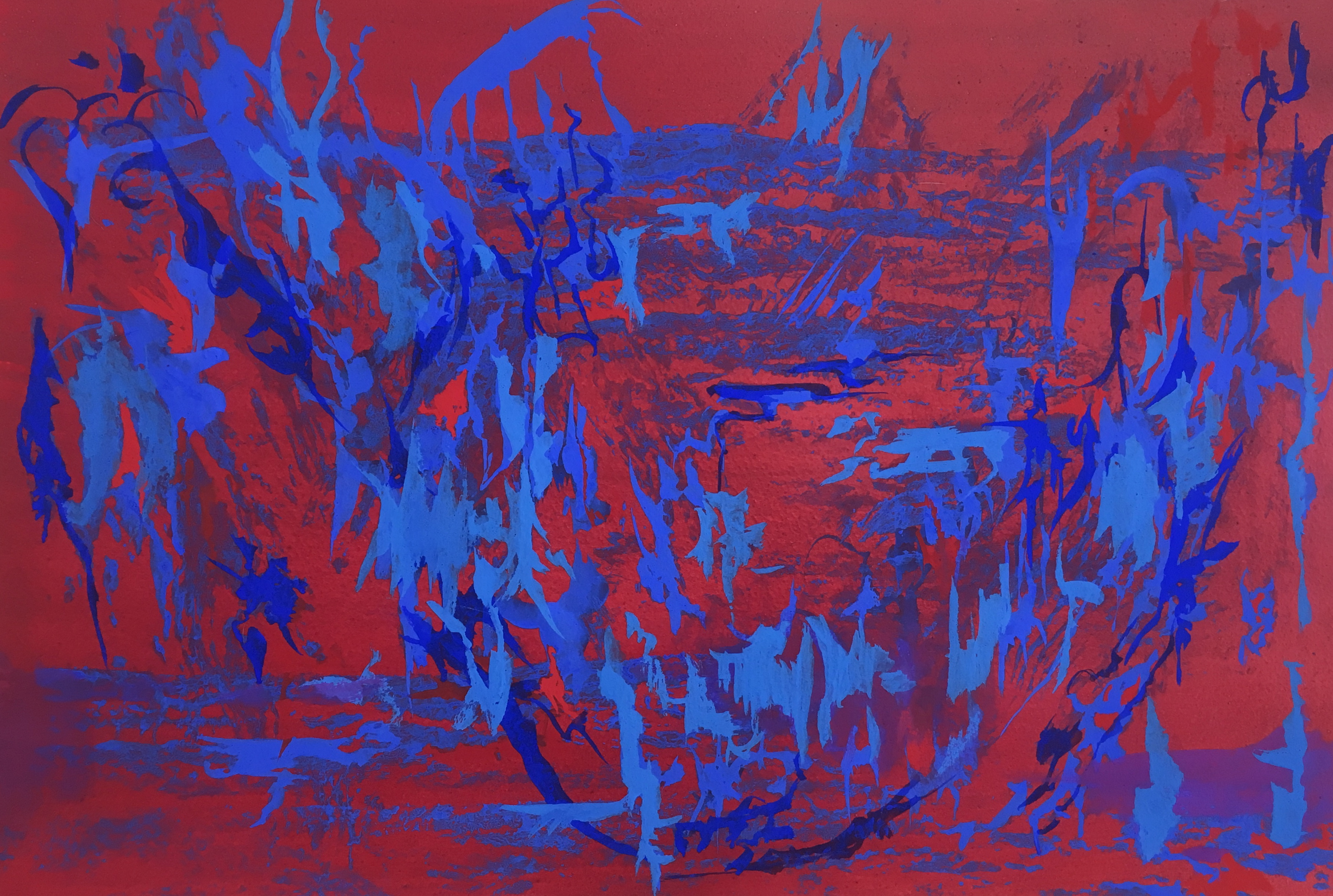 Composition in Alizarin and Blue, Milk paint on paper, 56 x 86 cm 2016