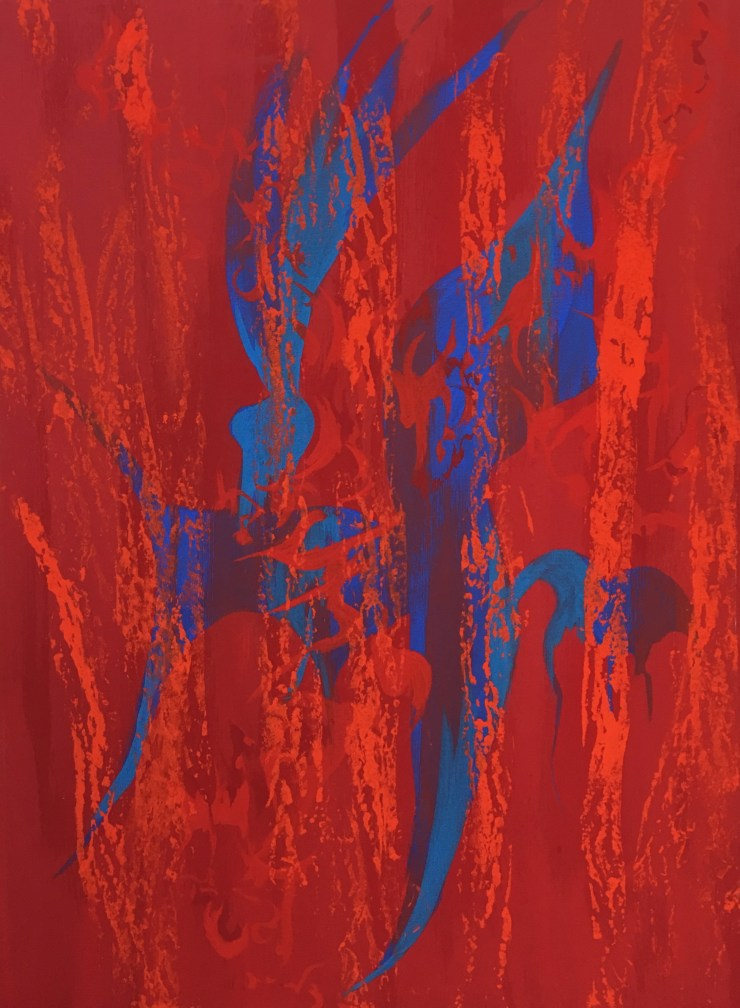 Glyph Composition 2 in Blues and reds, milk paint on canvas, 40 x 53 cm 2017