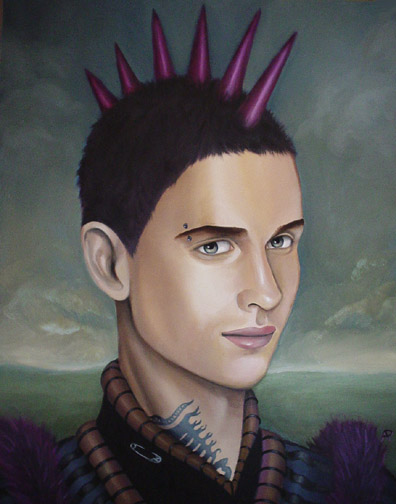 contemporary oil portrait of a punk with neck tattoo