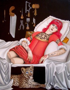 contemporary surreal portrait of double amputee and leopard