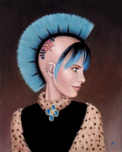 oil portrait of punk girl with blue mohawk