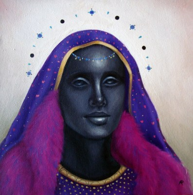 contemporary oil painting of a Black Madonna in purple