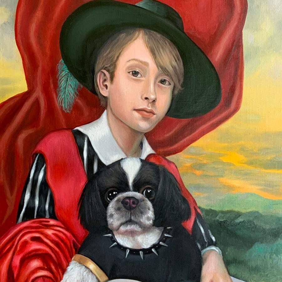 contemporary oil portrait of a boy and his terrier