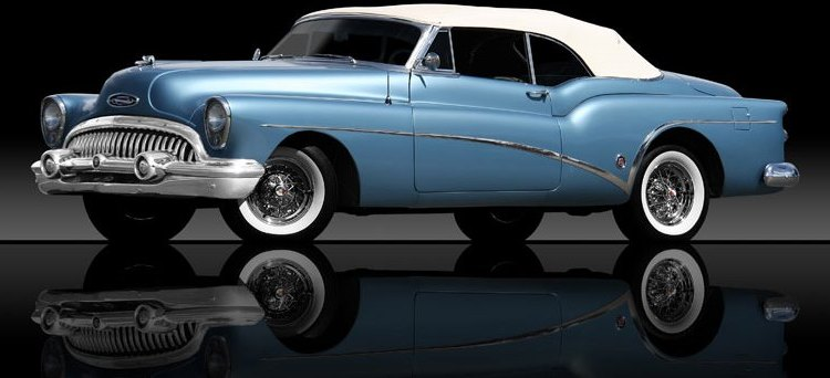 A blue convertible vintage car
