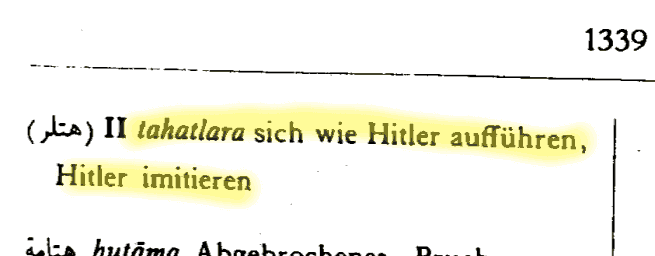 """The Arabic verb: """"to behave like Adolf Hitler"""" 1"""