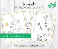 Arabic Beach Crosswords Colouring Printable - Beach theme - Arabic Seeds Kids