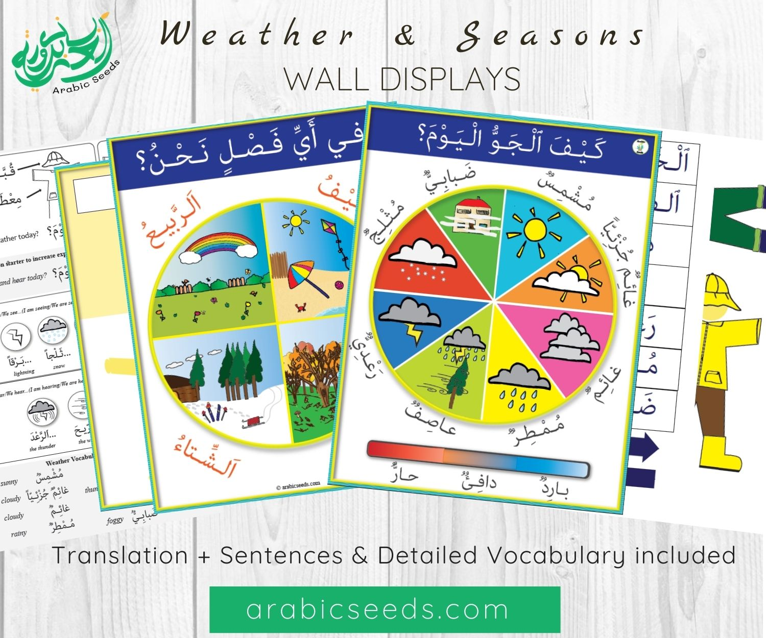 Arabic Seasons, Weather & Clothes - Display_DIY Bulletin Board - Arabic Seeds - Teaching Resources for kids