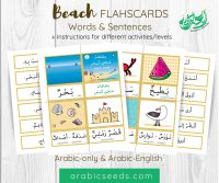Beach Arabic Flashcards - Arabic Words and Sentences - Printable Resource for kids and non-native speakers - Arabic Seeds