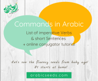 Arabic Commands (imperative Verbs & short Sentences) - Arabic Seeds - daily life