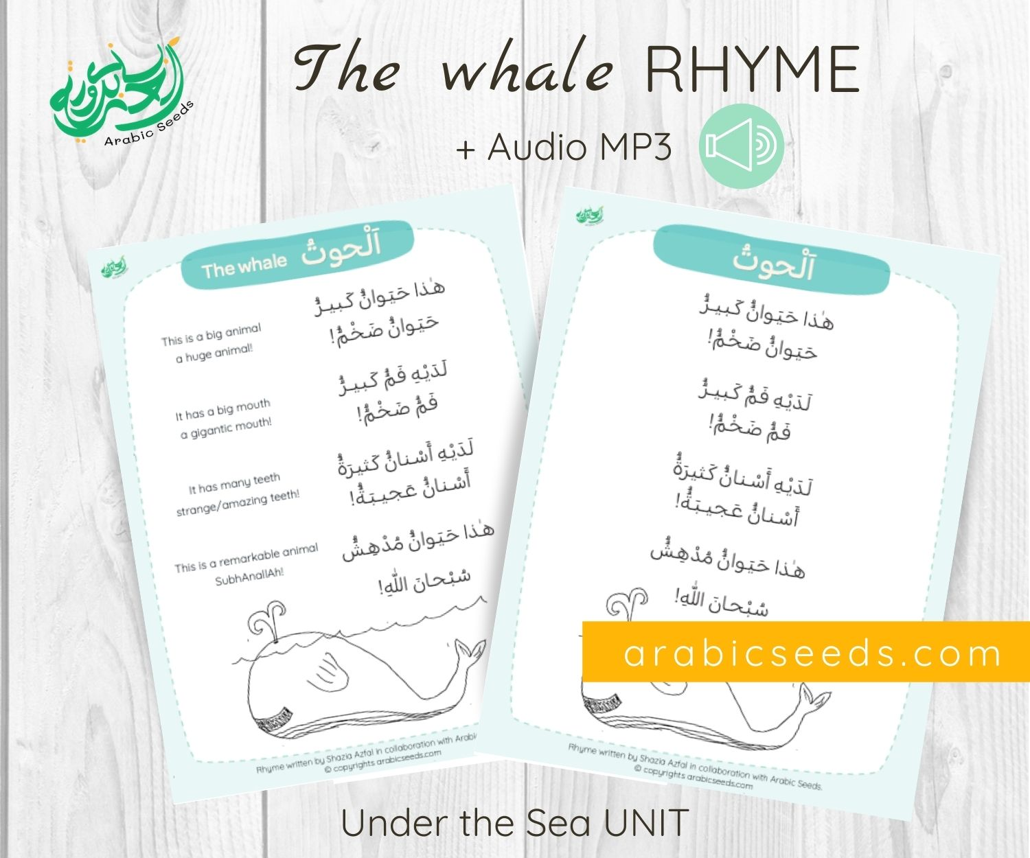 The whale Arabic rhyme - printable and audio - under the sea unit - Arabic Seeds