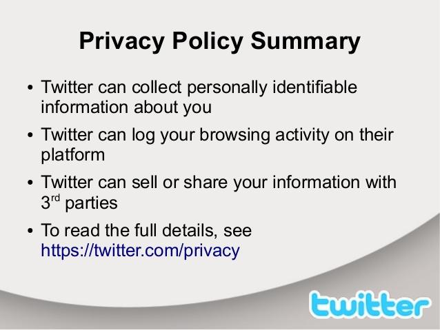 ملخص سياسة الخصوصية عند تويتر