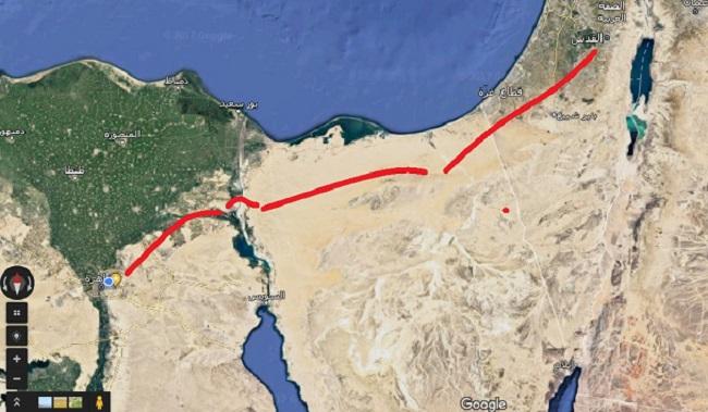 مسار خروج موسى وقومه من مصر كما ترجحه أغلب المصادر التاريخية