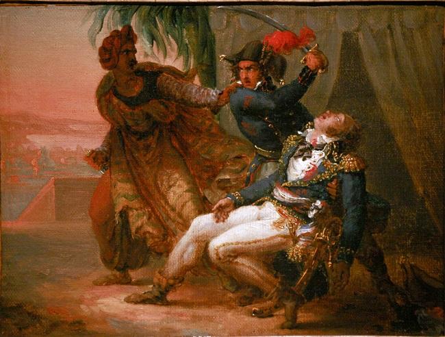 لوحة للفنان الفرنسي أنطوين جين جروس، تصور مشهد اغتيال كليبر على يد الحلبي، محفوظة بمتحف ستراسبورج التاريخي - قبل عام 1835