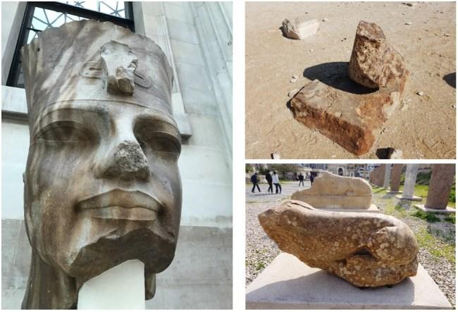 آثار حرق في الجرانيت - من سقارة ومنطقة عمود السواري وتمثال أمنحتب الثالث من الأقصر حاليا بالمتحف البريطاني
