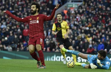 Mohamed Salah scores twice as Liverpool beat Watford 2-0 to extend Premier League lead