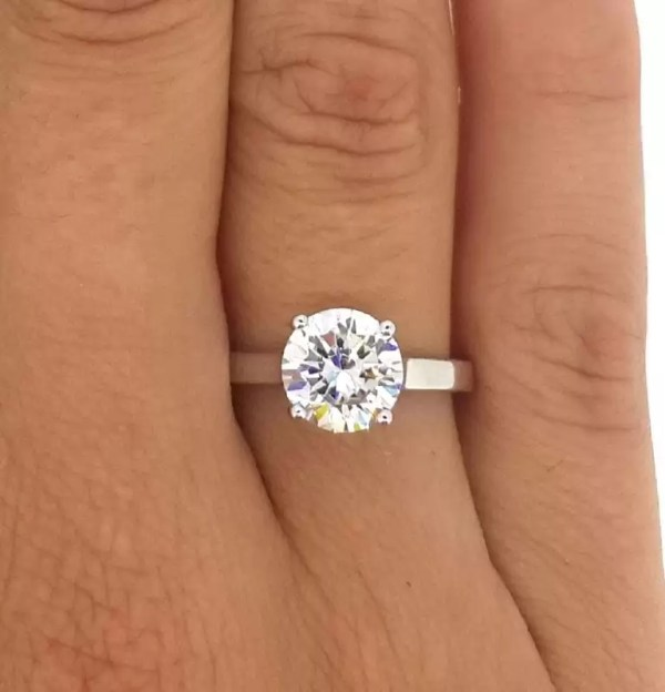 1 1 2 Ct Round Cut Diamond Solitaire Engagement Ring 18K White Gold
