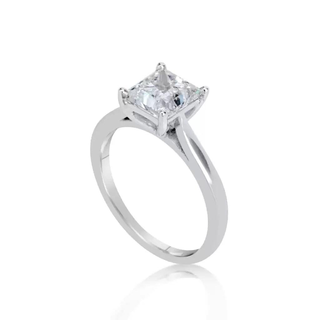 812298662 1 1/2 Ct Princess Cut D/Vs Diamond Solitaire Engagement Ring 14K White