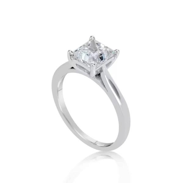 1 1/2 Ct Princess Cut D/Vs Diamond Solitaire Engagement Ring 14K White Gold