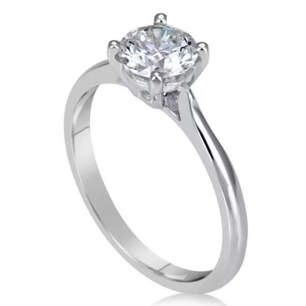 1 Carat Round Cut Diamond Engagement Ring 14K White Gold 2