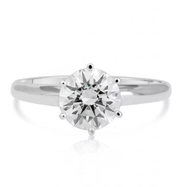1.2 Carat Round Cut Diamond Engagement Ring 14K White Gold 3