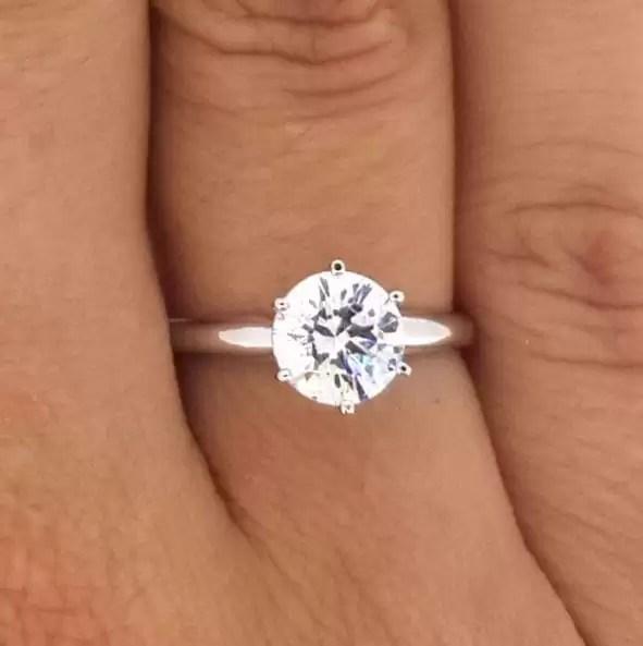 1.2 Carat Round Cut Diamond Engagement Ring 14K White Gold
