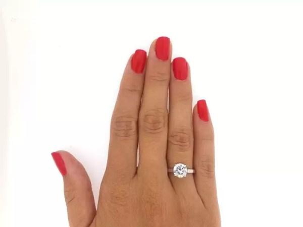 1.5 Carat Round Cut Diamond Engagement Ring 14K White Gold 2