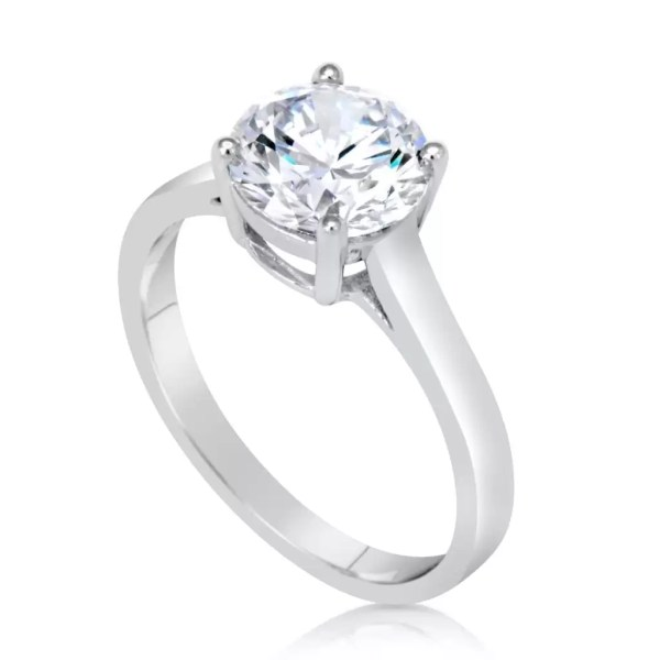 1.5 Carat Round Cut Diamond Engagement Ring 14K White Gold