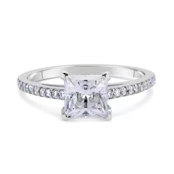 1.54 Carat Princess Cut Diamond Engagement Ring 18K White Gold 2