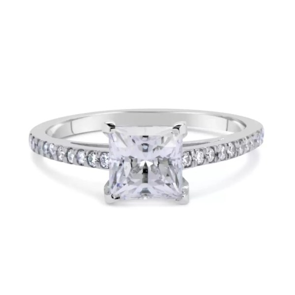 1.54 Carat Princess Cut Diamond Engagement Ring 18K White Gold 2