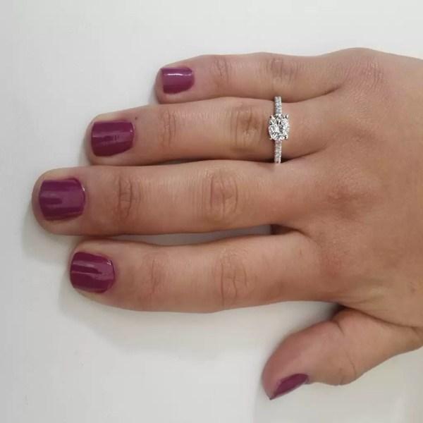 1.54 Carat Round Cut Diamond Engagement Ring 18K White Gold 4