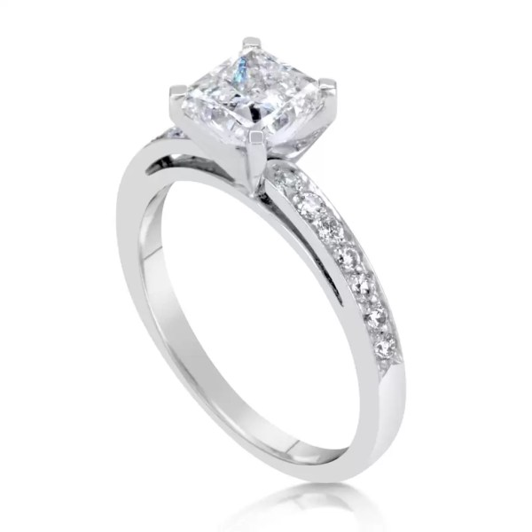 1.55 Carat Princess Cut Diamond Engagement Ring 14K White Gold 3