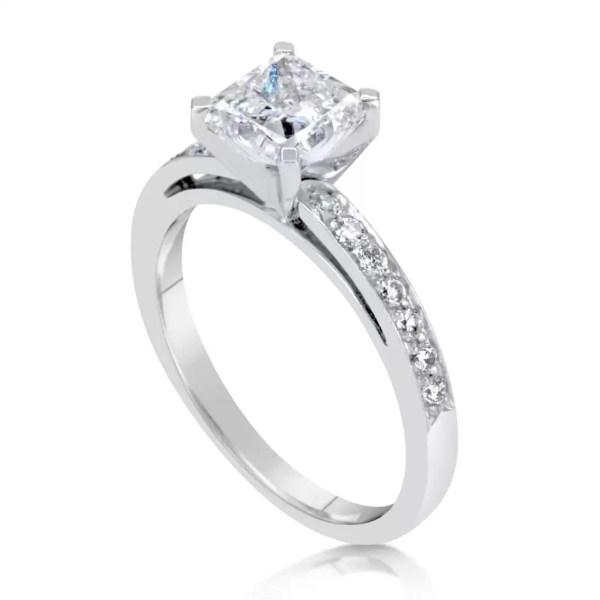 1.55 Ct Princess Cut Diamond Solitaire Engagement Ring 14K White Gold 3