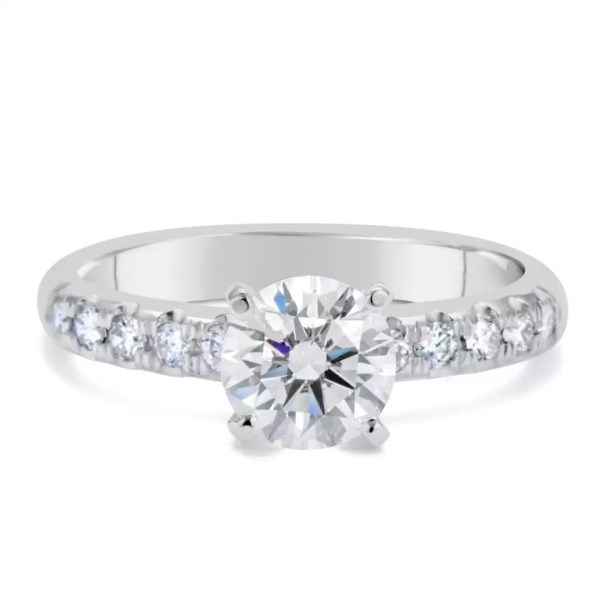 1.66 Ct Round Cut D Si1 Diamond Solitaire Engagement Ring 18K White Gold 2